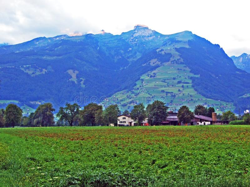 La montagna di Werdenberg sopra la città di Buchs nella valle del Reno fotografia stock libera da diritti