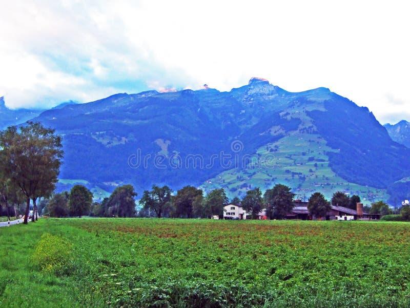 La montagna di Werdenberg sopra la città di Buchs nella valle del Reno fotografia stock