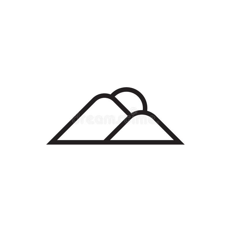 La montagna e l'icona dell'alba Vector l'illustrazione, EPS10 illustrazione di stock