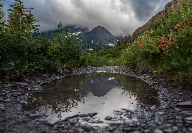 La montagna riflette nella pozza della traccia fotografia stock