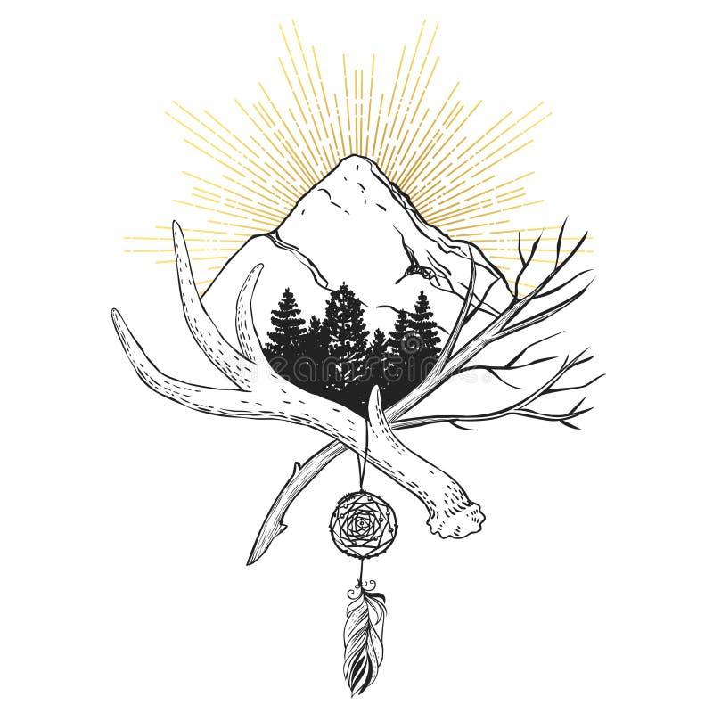 La montagne Élément décoratif de conception graphique illustration libre de droits