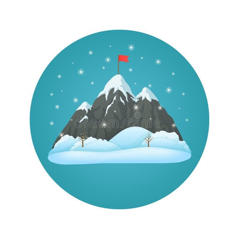 La montagne de Milou avec trois crêtes avec l'alerte sur le sommet, neige a couvert les défectuosités et la neige en baisse sur u illustration stock