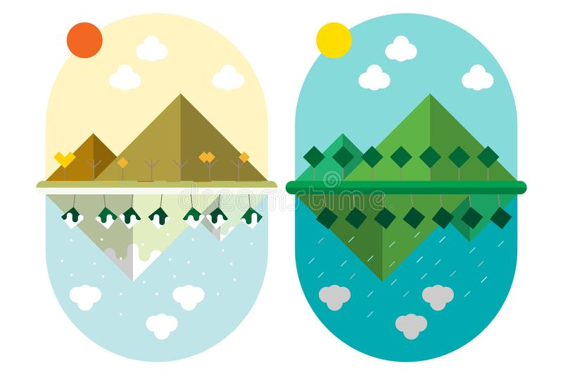 La montagne et les arbres plats de terre de conception de style d'illustration de vecteur avec 4 saisons survivent photos stock