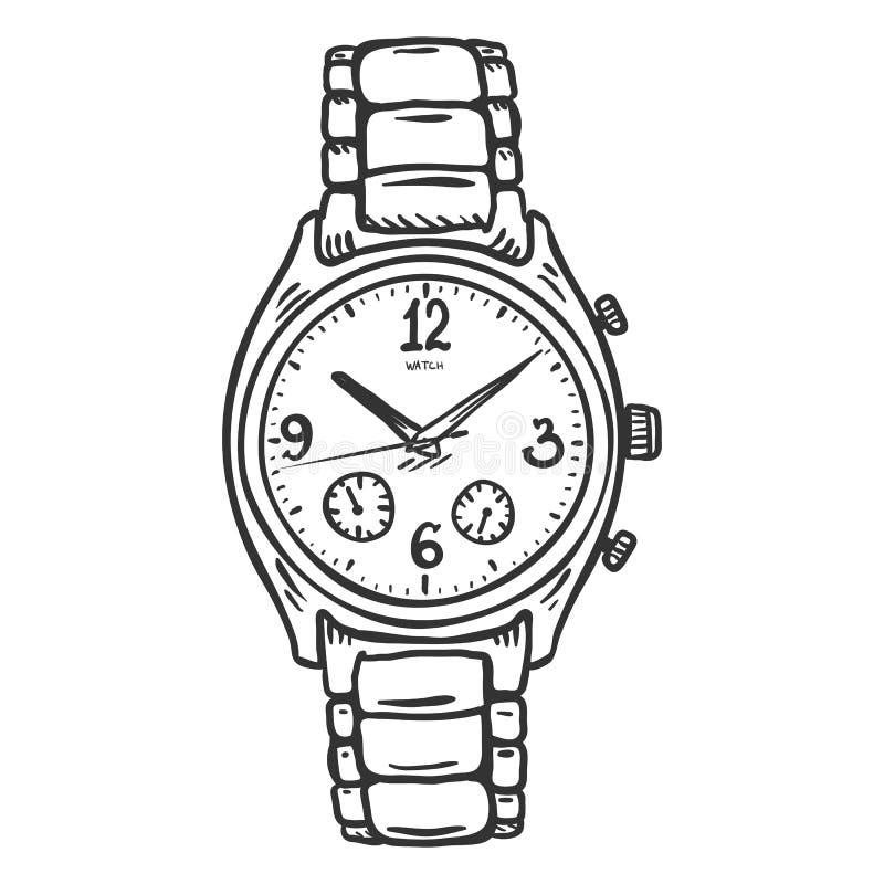 La montre-bracelet des hommes classiques de croquis de vecteur illustration libre de droits