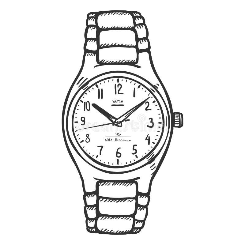 La montre-bracelet des hommes classiques de croquis de vecteur illustration stock