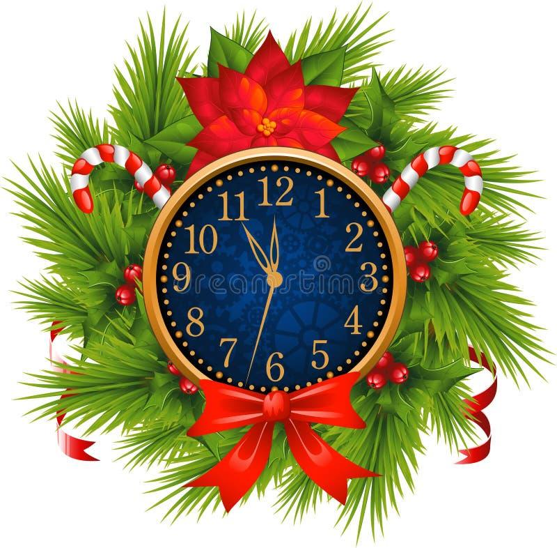 La montre a décoré la guirlande de Noël (le réveillon de la Saint Sylvestre) illustration stock