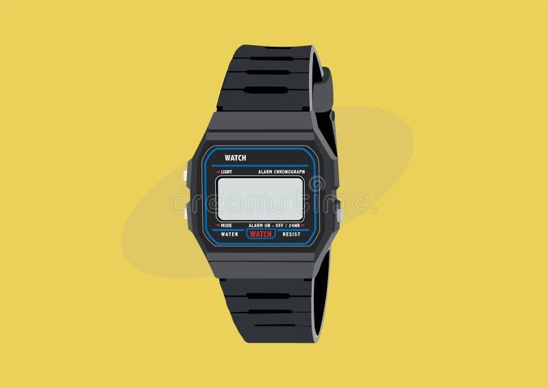 la montre de Digital du cru 80s et 90s, illustration de vecteur a isolé illustration de vecteur