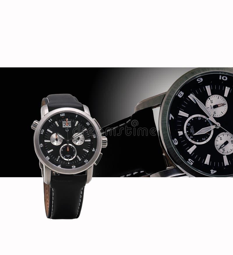 La montre des hommes exquis avec la ceinture en cuir image libre de droits