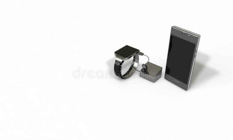 La montre et le téléphone portable intelligents sur le blanc, 3d rendent illustration stock