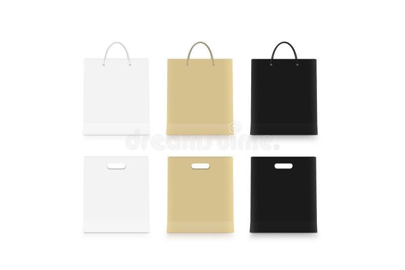 La moquerie de sac de papier blanc se lève d'isolement, blanc, ouvrent le noir brun photographie stock
