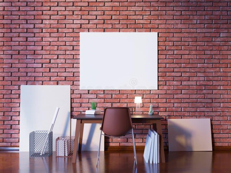 La moquerie vers le haut de l'affiche avec le fond intérieur de grenier de hippie de vintage, 3D rendent Illustration illustration stock
