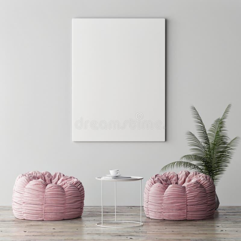 La moquerie vers le haut de l'affiche, le concept intérieur de minimalisme, deux a monté des poufs avec l'usine de paume photo stock