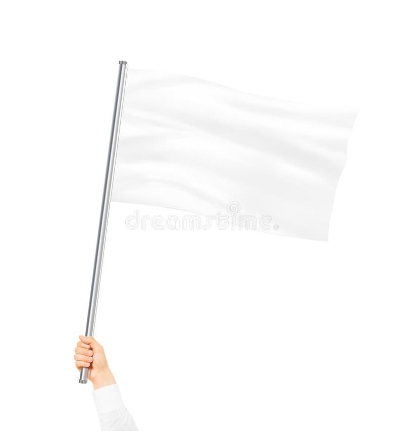 La moquerie vide de drapeau blanc a isolé se tenir à disposition photographie stock