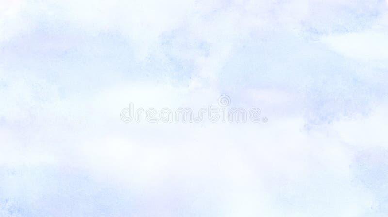 La morbidezza ha spalmato il fondo leggero dell'acquerello di colore degli azzurri L'acquerello ha dipinto la tela strutturata di illustrazione di stock