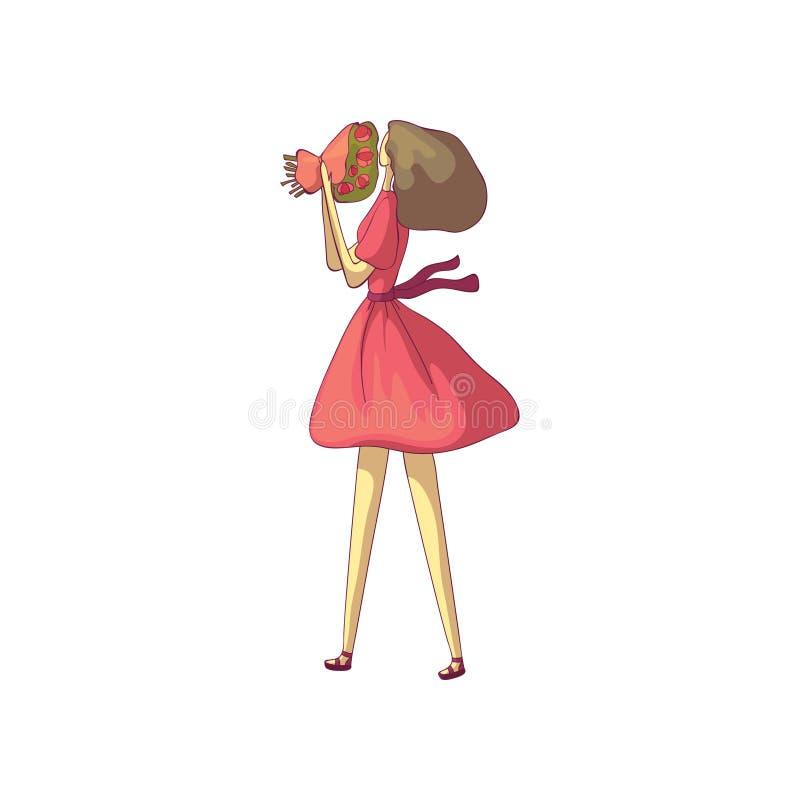 La morenita en un vestido rojo huele un ramo de flores Ilustraci?n del vector en el fondo blanco libre illustration