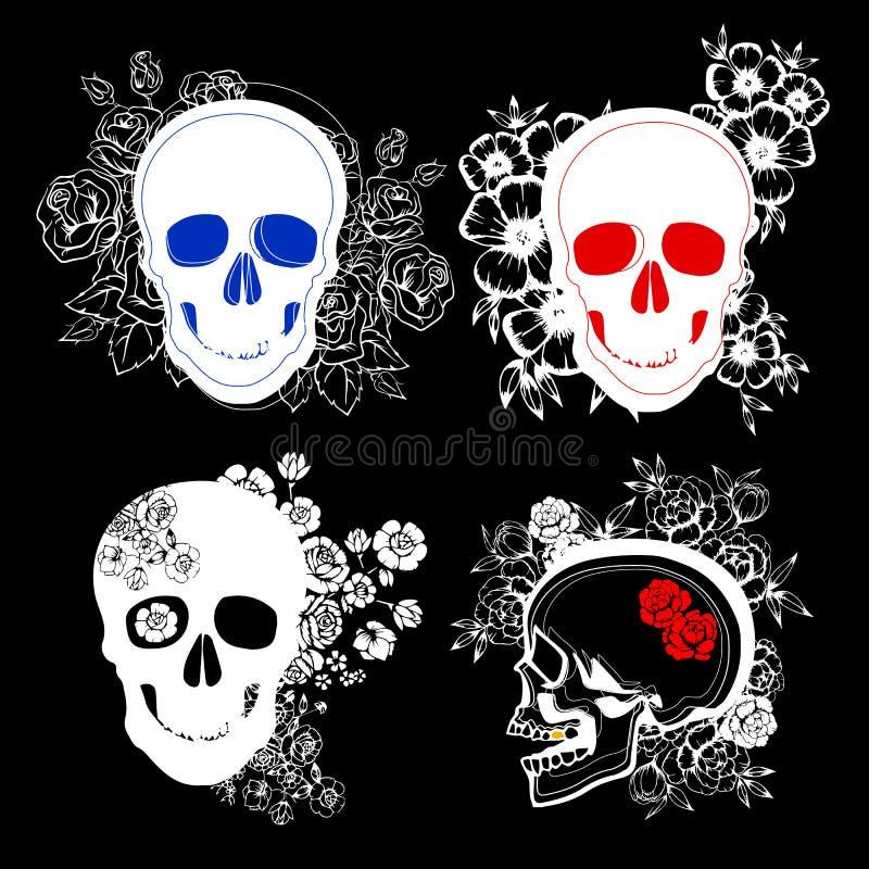La mort, crâne, mort, squelettique, Halloween, illustration, bande dessinée, horreur photos stock