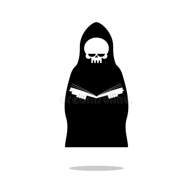 La mort du livre de lecture La faucheuse dans le manteau noir indique le Bi illustration stock