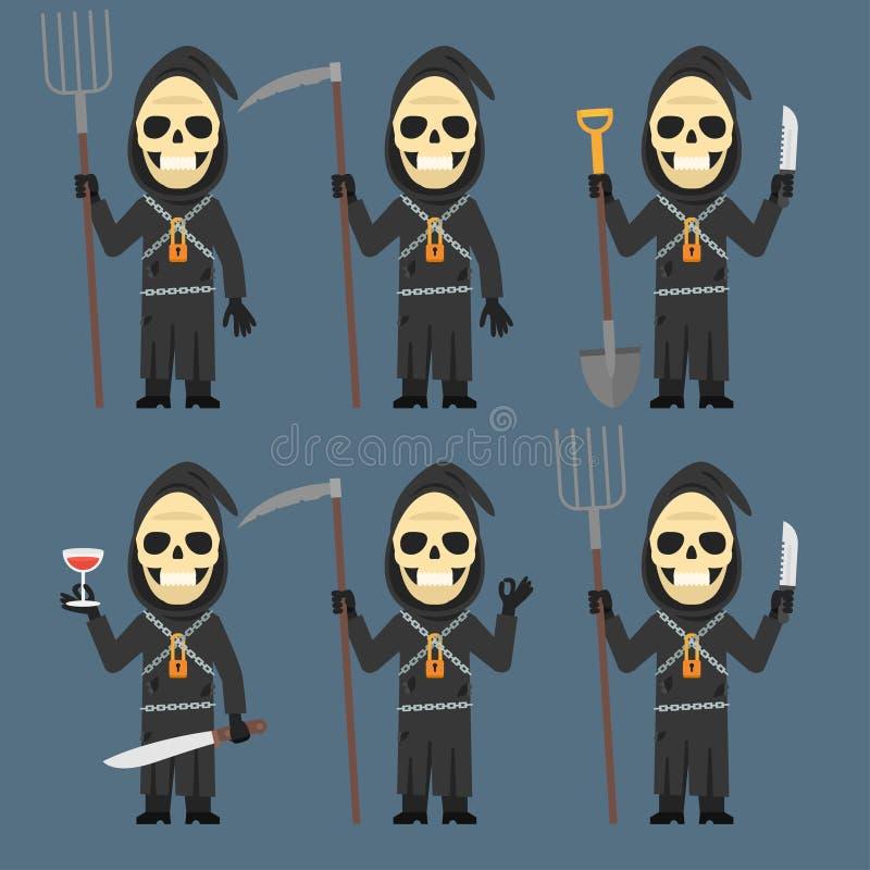 La mort tient le vin de couteau de pelle à fourche de faux illustration libre de droits