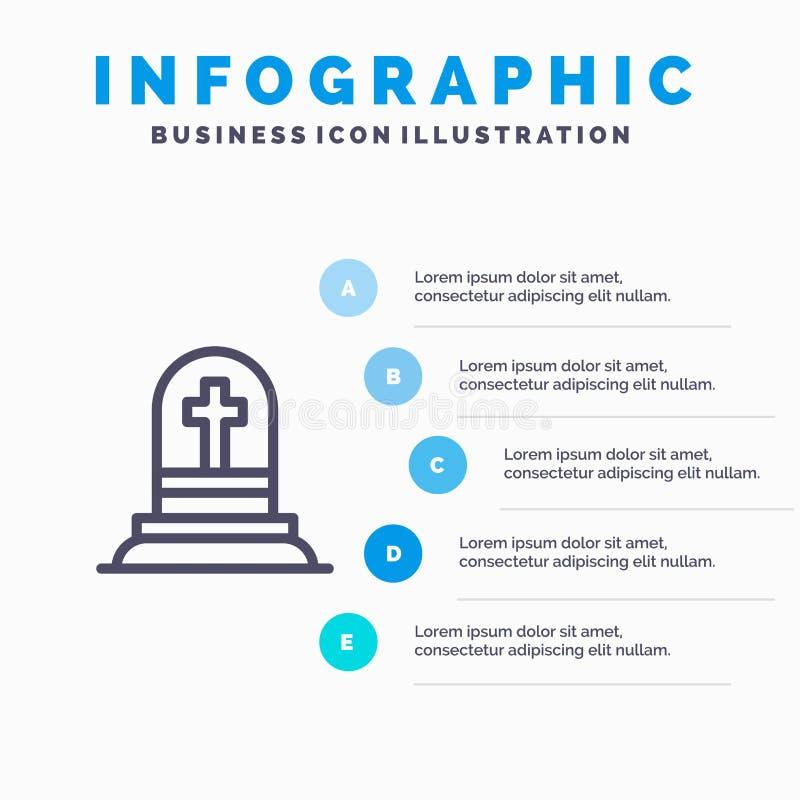 La mort, tombe, pierre tombale, ligne icône de déchirure avec le fond d'infographics de présentation de 5 étapes illustration de vecteur