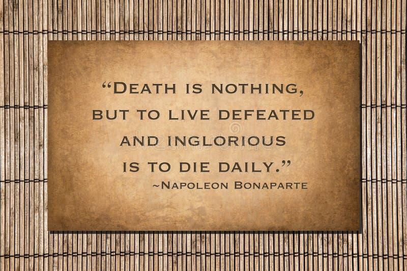 La morte è niente - citazione di Napoleon Bonaparte fotografia stock libera da diritti