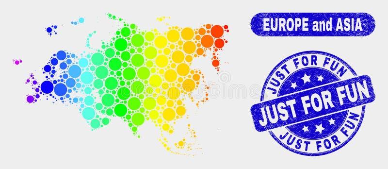 La mosaïque colorée l'Europe et Asie tracent et affligent juste pour le filigrane d'amusement illustration libre de droits