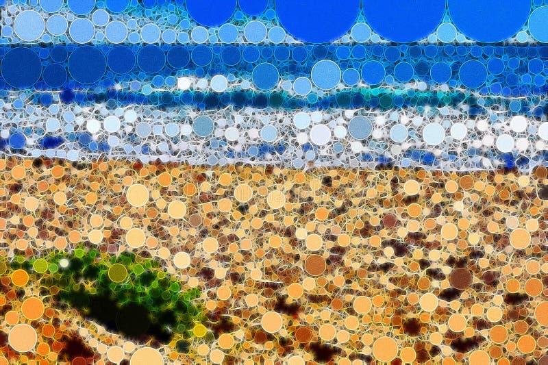 La mosaïque a couvert de tuiles la scène de plage avec le détail fin illustration libre de droits
