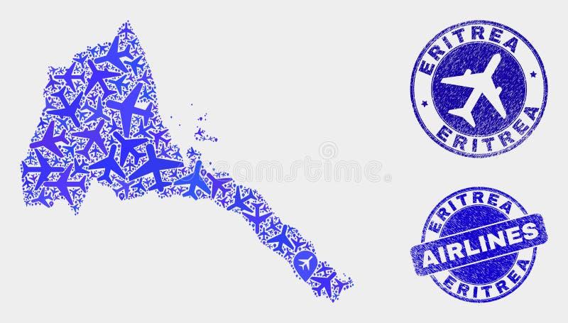 La mosaïque d'avion d'air dirigent la carte de l'Érythrée et les timbres grunges illustration de vecteur
