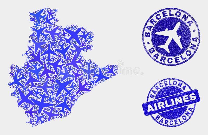 La mosaïque d'avion d'air dirigent la carte de province de Barcelone et les joints grunges illustration libre de droits