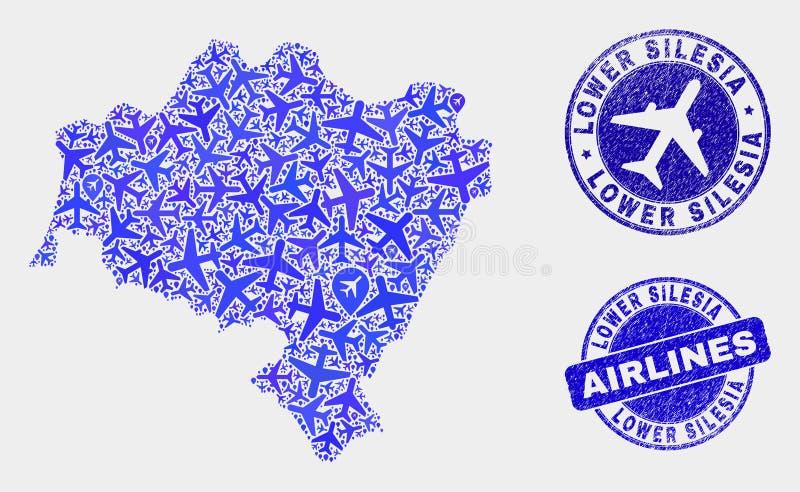 La mosaïque d'avion d'air dirigent la carte de la Voïvodie de Basse-Silésie et les joints grunges illustration stock