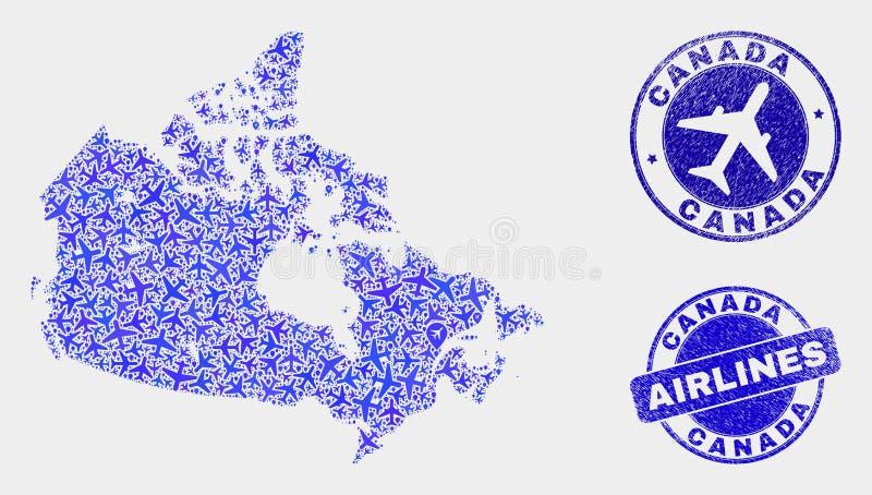 La mosaïque d'avion d'air dirigent la carte du Canada et les timbres grunges illustration de vecteur