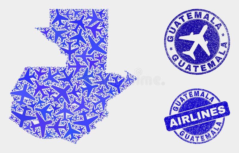 La mosaïque d'avion d'air dirigent la carte du Guatemala et les joints grunges illustration de vecteur