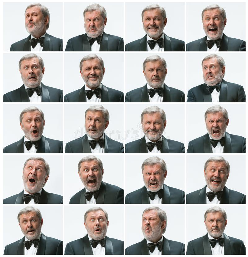 La mosaïque de l'expression d'homme d'affaires et des différentes émotions L'homme d'affaires barbu avec le costume avec 20 diffé photo stock