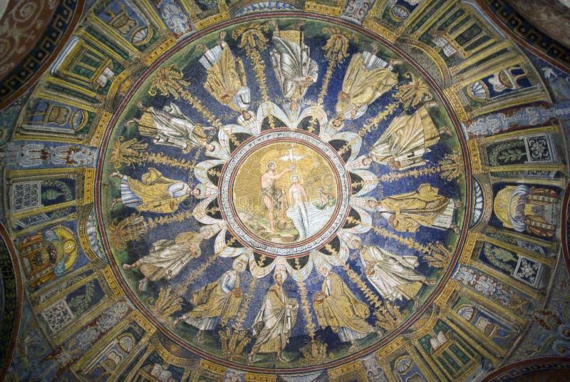 La mosaïque de plafond du baptistère du néon Ravenne, Italie photo libre de droits