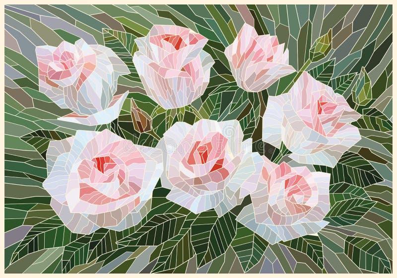 La mosaïque a souillé les roses blanches en verre sur un fond vert illustration de vecteur