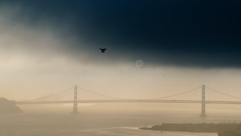 La mosca del abejón sobre puente Golden Gate va a aullar puente fotos de archivo libres de regalías