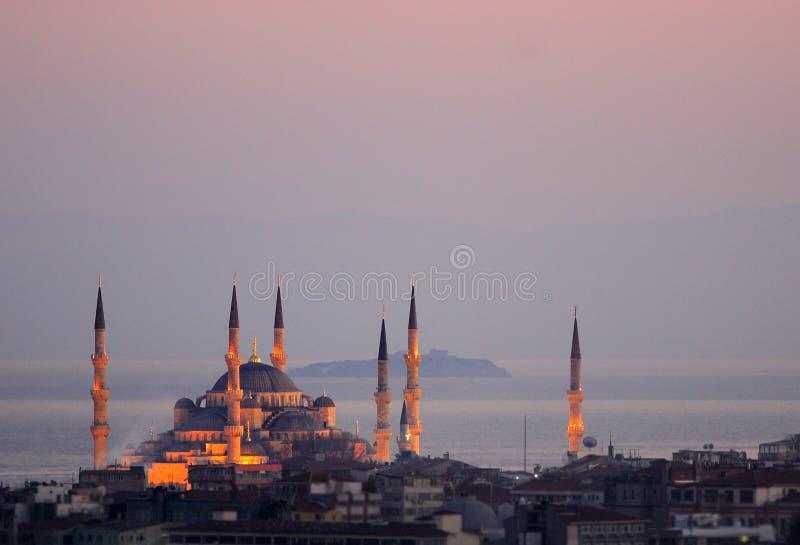 La moschea di Ahmed del sultano - moschea blu di Costantinopoli fotografia stock libera da diritti