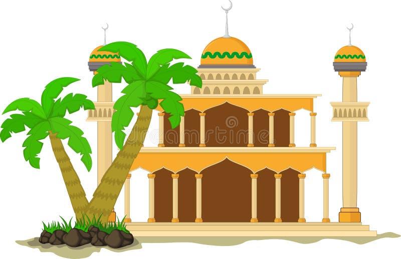 La moschea musulmana ha isolato la facciata piana su fondo bianco Piano con l'oggetto di architettura delle ombre Progettazione d royalty illustrazione gratis