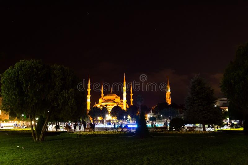 La mosquée bleue lumineuse au cours de la nuit photographie stock libre de droits