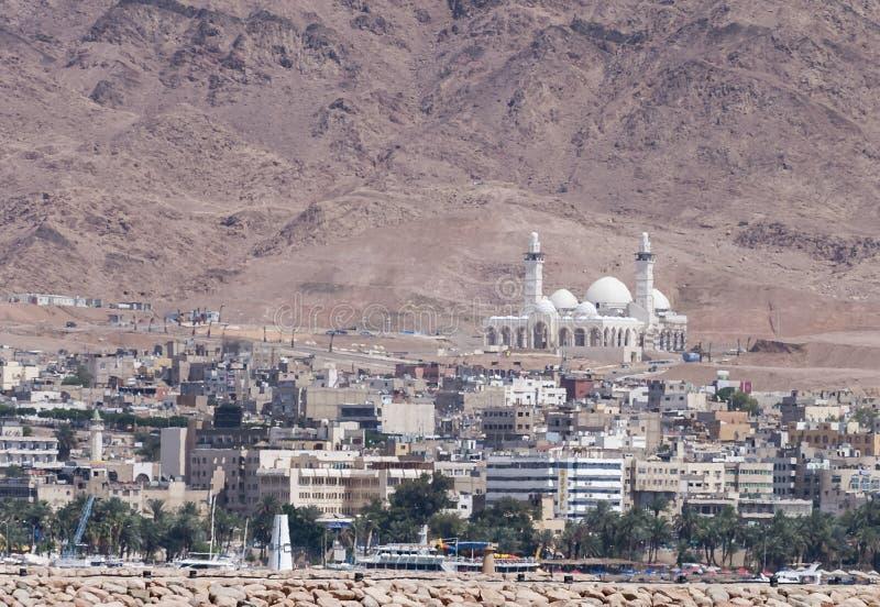 La mosquée centrale dans la ville d'Aqaba, Jordanie, Moyen-Orient image stock