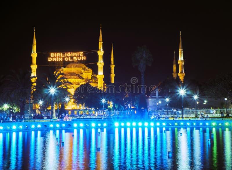 La mosquée de Sultan Ahmet Camii la nuit Istanbul, Turquie images libres de droits