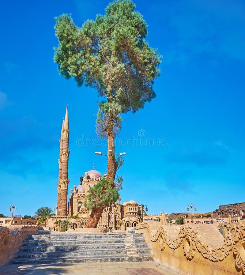 La mosquée derrière le pin, Sharm el Sheikh, Sinai, Egypte photos libres de droits