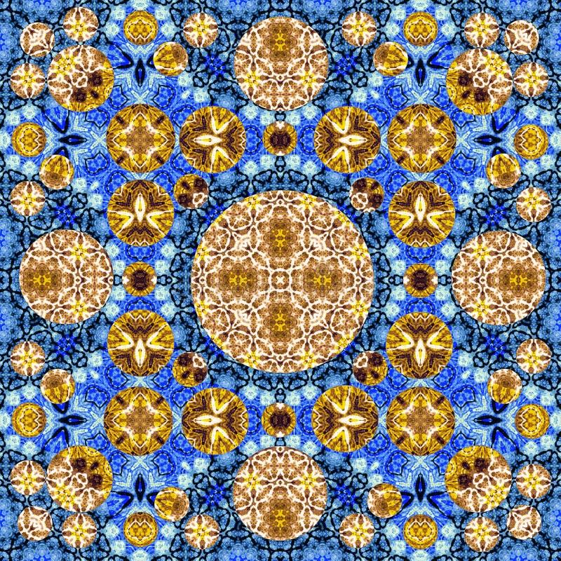 La mostaza azul brillante amarilla, círculos beige, violetas ajusta el modelo inconsútil libre illustration
