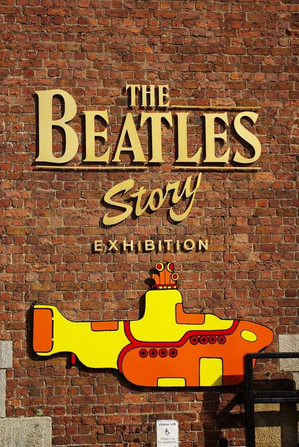 La mostra di storia di Beatles fotografie stock libere da diritti