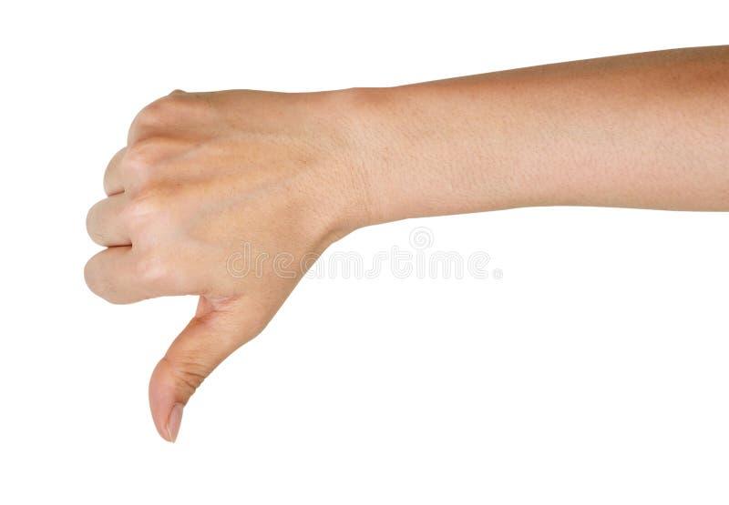 La mostra femminile della mano pollici giù gesture fotografia stock