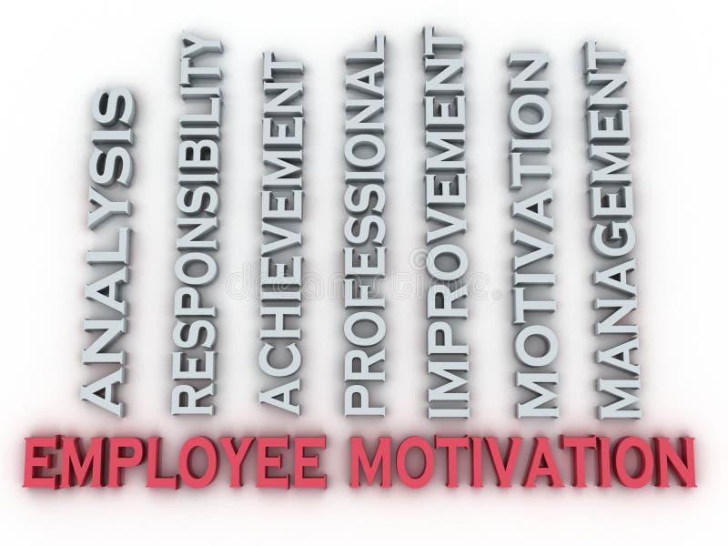 la motivation des employés de l'image 3d publie le backgrou de nuage de mot de concept illustration de vecteur
