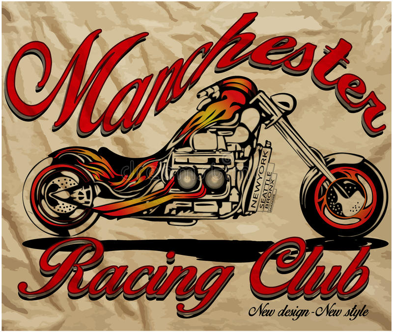 La moto de croquis d'illustration avec le T-shirt imprime le graphique de vecteur illustration de vecteur
