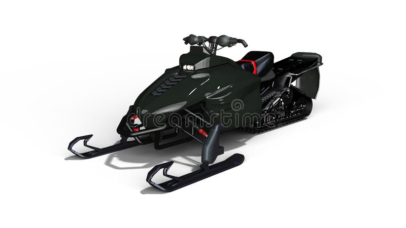 La moto de nieve, trineo del motor, esquí del jet de la nieve aislado en el fondo blanco, 3D rinde stock de ilustración