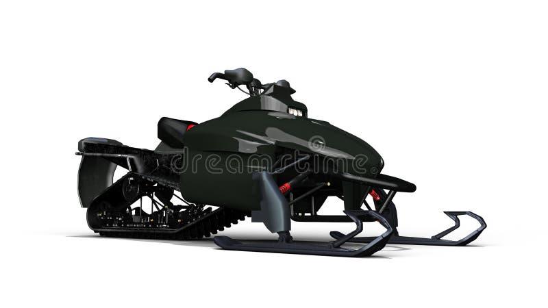 La moto de nieve, vehículo del trineo del motor, esquí del jet de la nieve aislado en el fondo blanco, 3D rinde stock de ilustración
