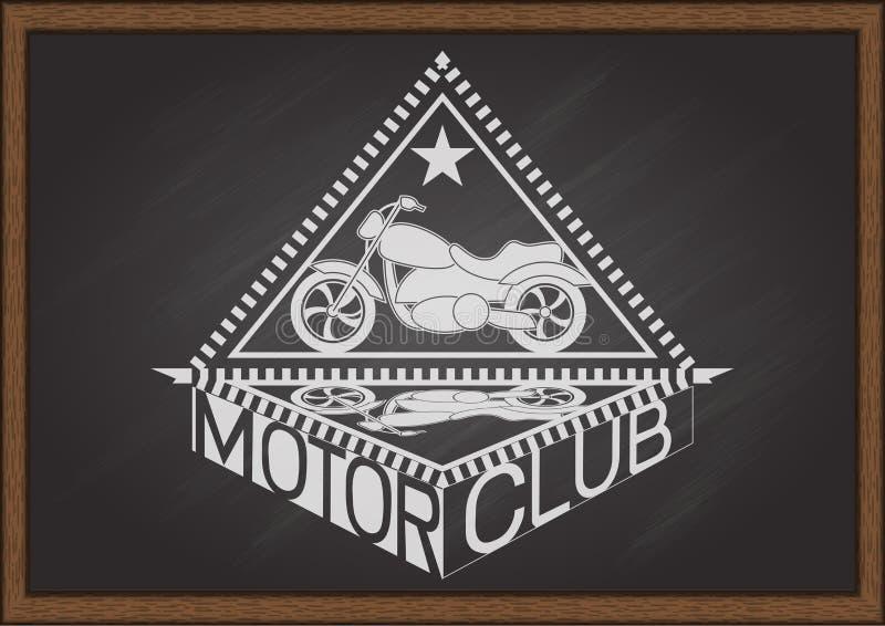 La moto de vintage et le cadre de regard plats de triangle d'intérieur avec l'ombre et la typographie CIRCULENT EN VOITURE LE CLU illustration stock
