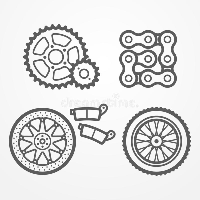 Download La moto partie des icônes illustration stock. Illustration du positionnement - 76081169
